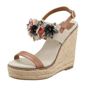 Tory Burch Natural Mallory Espadrille Wedges